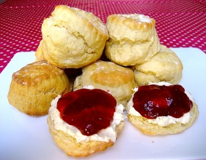 Scones with cream & jam. Just looking at it... sigh! ;)